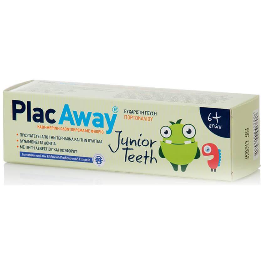 Plac Away Junior Teeth Παιδική Οδοντόκρεμα που Προστατεύει από την Τερηδόνα & την Ουλίτιδα με Γεύση Πορτοκάλι 6+ Ετών 50ml