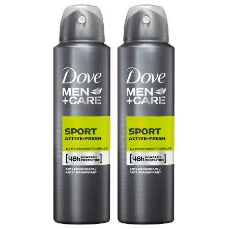 Dove Men Care Sport Active Fresh Αντιιδρωτικό με Ισχυρη Προστασία 1+1 Δώρο, 2 x 150ml