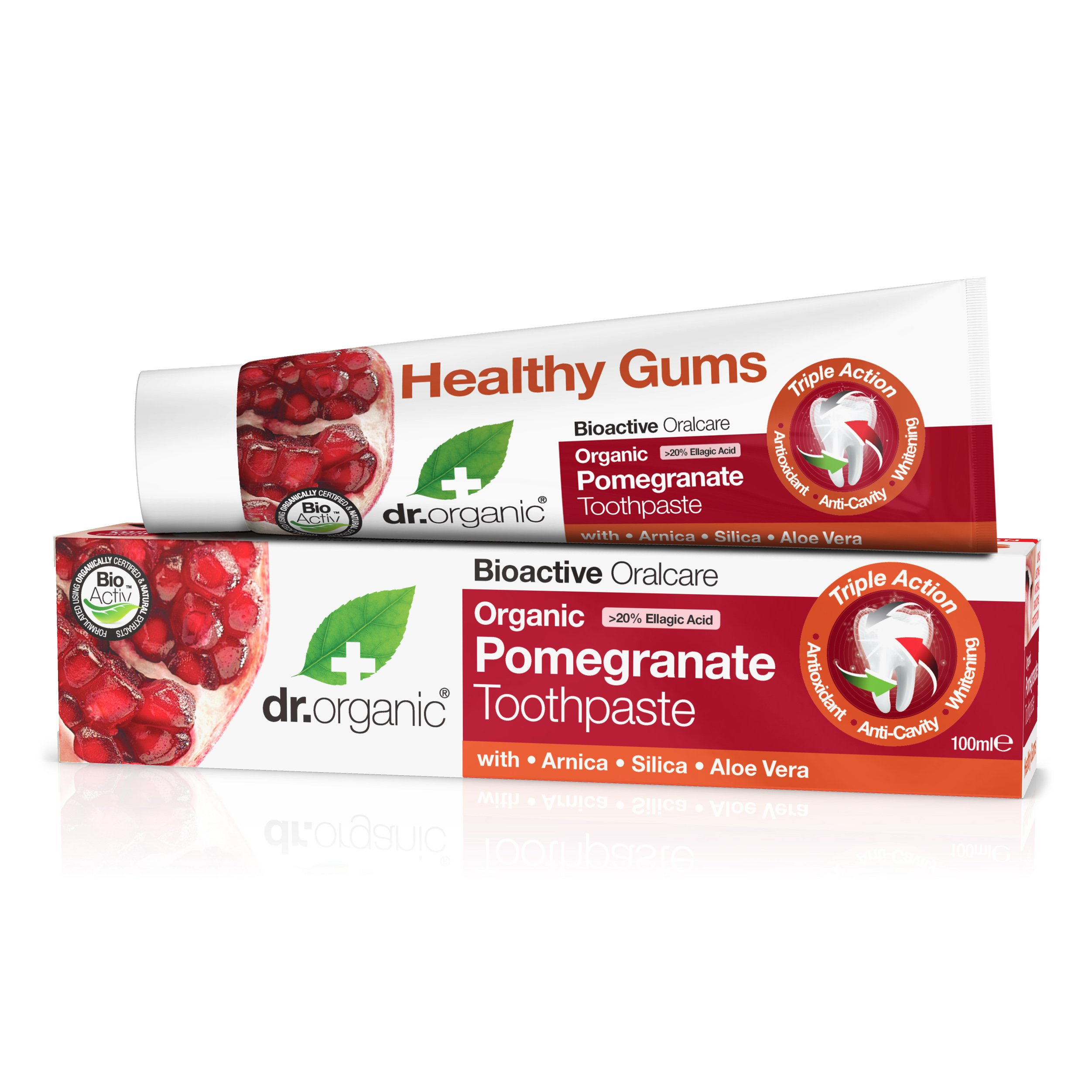 Dr Organic Organic Pomegranate Toothpaste Οδοντόκρεμα με Βιολογικό Ρόδι 100ml