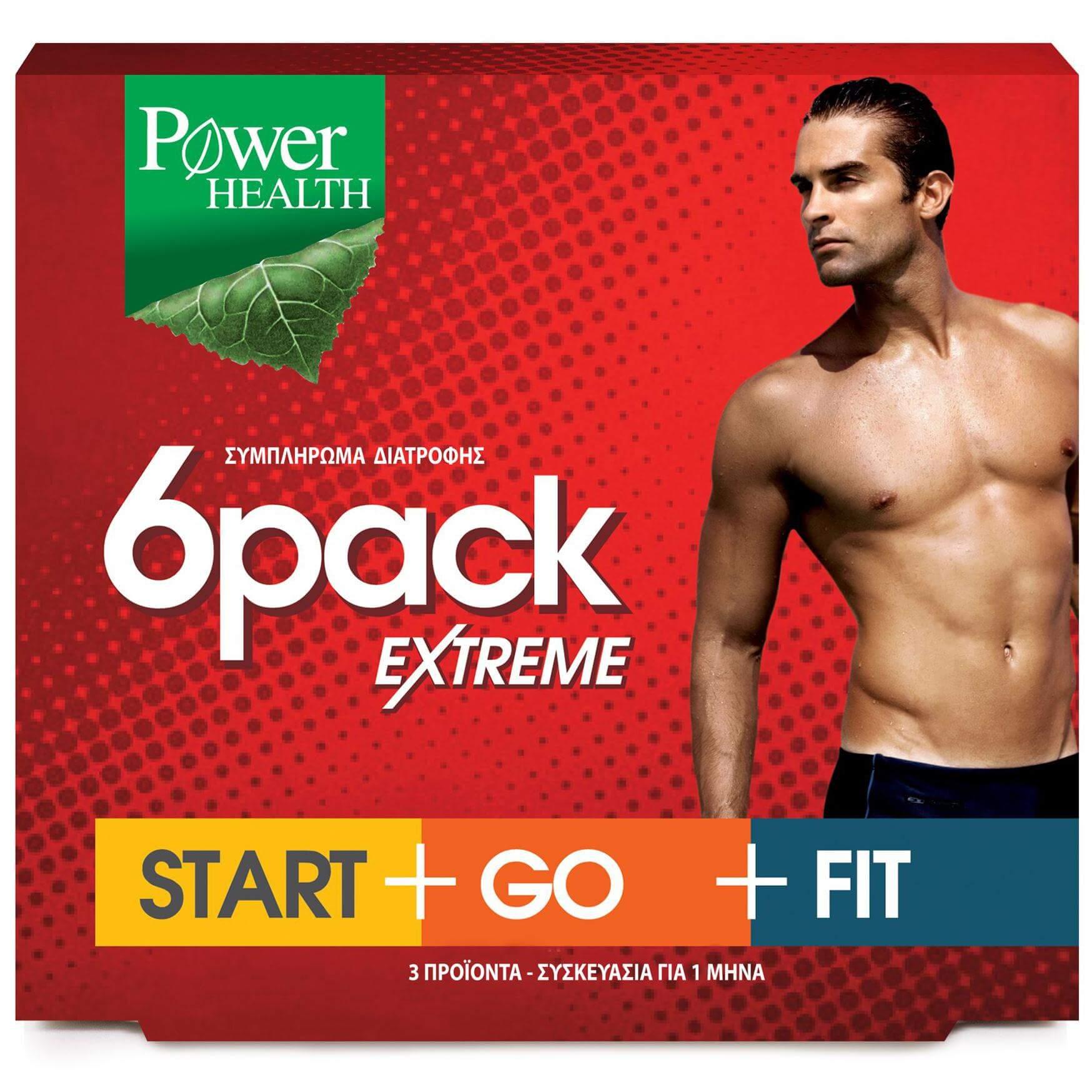 Power Health 6Pack Extreme Start+Go+Fit Αποτελεσματικό Αδυνάτισμα Για Όμορφο Και Καλοσχηματισμένο Ανδρικό Σώμα 3x30caps
