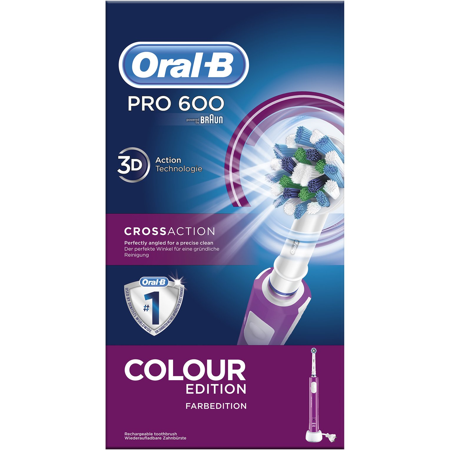 Oral-B PRO CrossAction 600 Μωβ Επαναφορτιζόμενη Ηλεκτρική Οδοντόβουρτσα