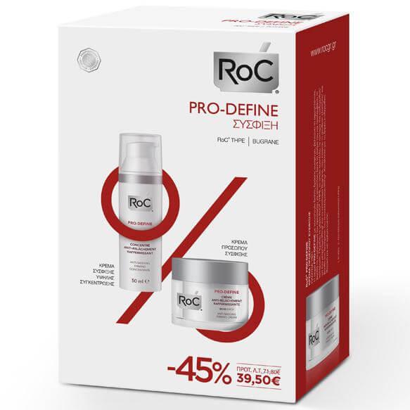 Roc Pro-DefineΚρέμα Αντιγήρανσης Πλούσιας Υφής 50ml & Κρέμα Σύσφιξης 50ml Promo -45%