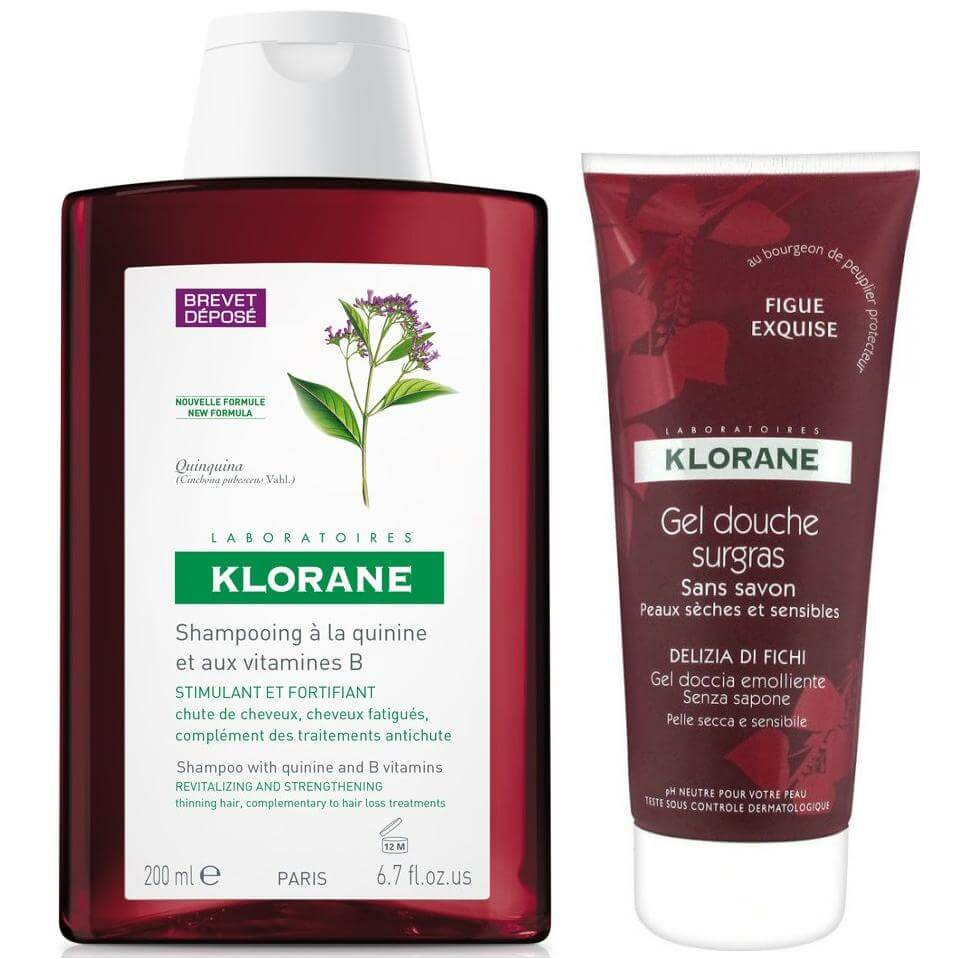 Klorane Fortifying Treatment Shampoo with Quinine Δυναμωτικό Σαμπουάν + Gel Douche Surgras Fig Squisita Αφρόλουτρο 200ml