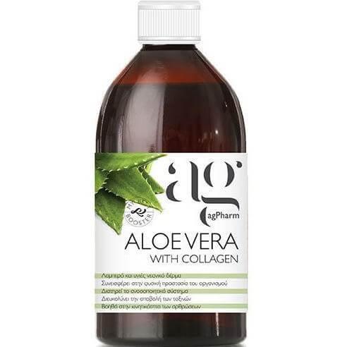 Agpharm Aloe Vera With Collagen Συμπλήρωμα Διατροφής για Λαμπερό & Υγιές Νεανικό Δέρμα 500ml