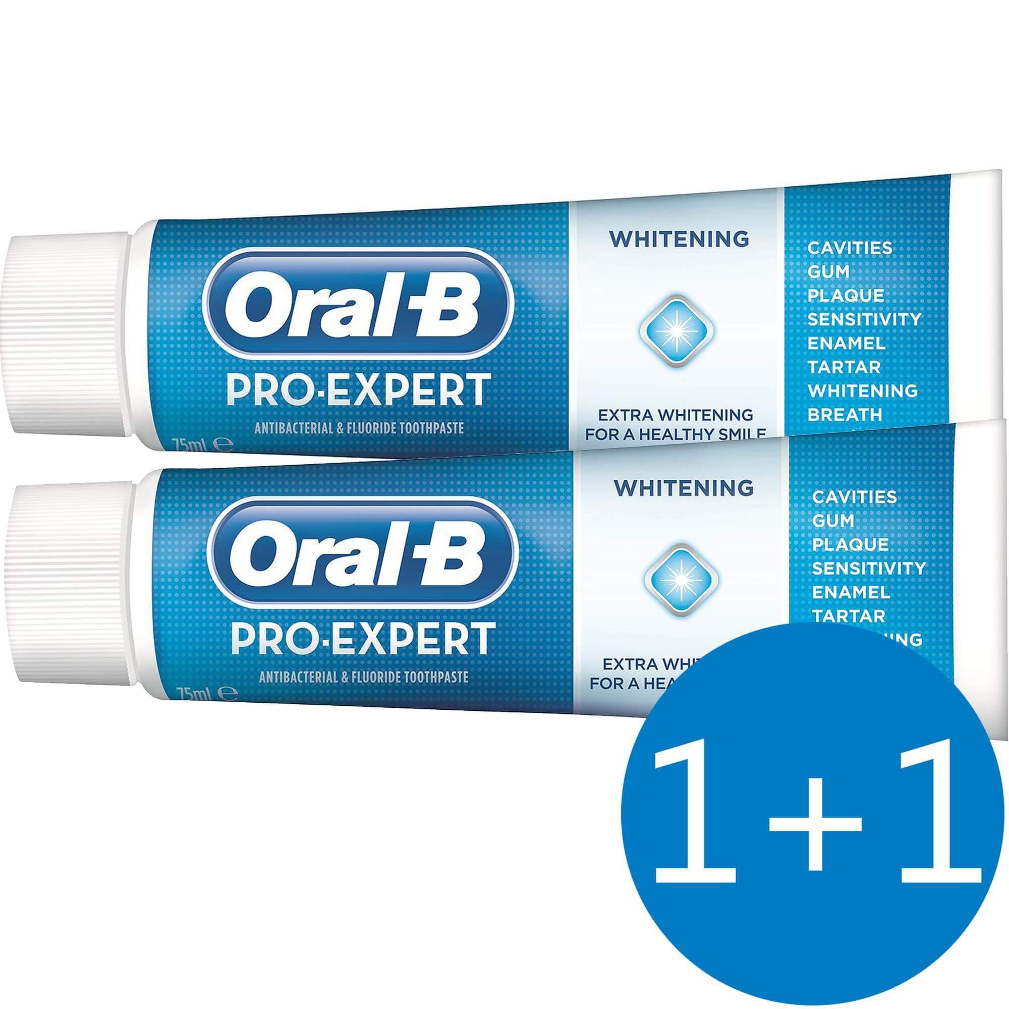 Oral B Πακέτο Προσφοράς Pro Expert Healty White Οδοντόκρεμα Έξτρα Λεύκανσης για Υγιές Χαμόγελο 75ml Προσφορά 1+1 Δώρο