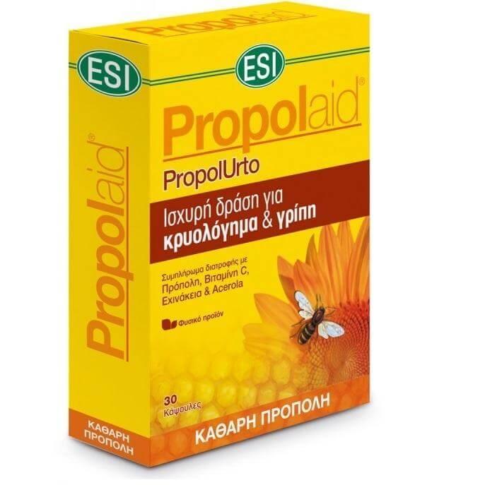 Esi Propolaid PropolUrto Για Την Άμεση Καταπολέμηση Των Συμπτωμάτων Του Κρυολογήματος 30tabs