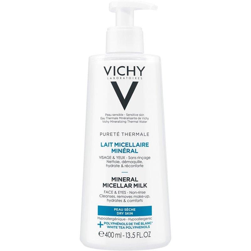 Vichy Purete Thermale Mineral Micellar Milk Γαλάκτωμα Micellaire για Πρόσωπο & Μάτια για Ξηρή Επιδερμίδα, 400ml