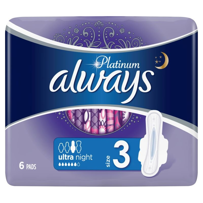 Always Platinum Σερβιέτες Μέγεθος 3 Ultra Night 6τμχ