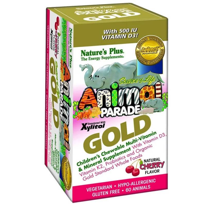 Natures Plus Animal Parade GOLDCherry Παιδικές Πολυβιταμίνες με Γεύση Κεράσι 60 Μασώμενα Ζωάκια