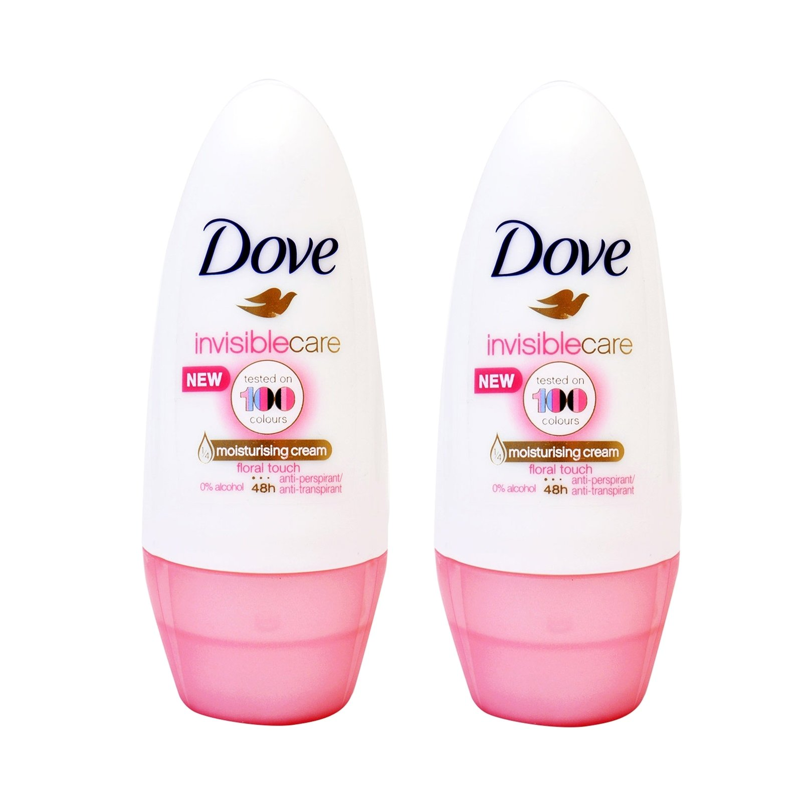 Dove Deo Roll On Invisible Care 48h Floral Touch Αποσμητικό 48ωρης Αντιιδρωτικής Προστασίας Χωρίς Λευκά Σημάδια 1+1 Δώρο,2x50ml