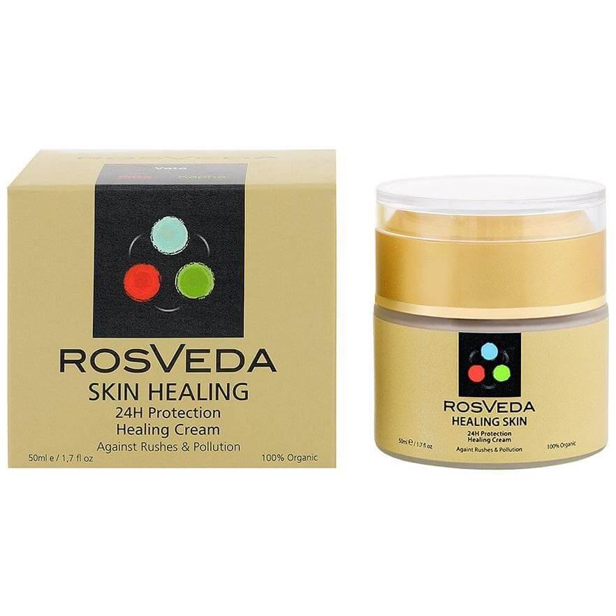 RosVeda Healing Skin Cream 100% Φυτική Σύνθεση, Επουλωτική, Επανορθωτική Κρέμα Προσώπου 24ωρης Ενυδάτωσης με Spf15 50ml