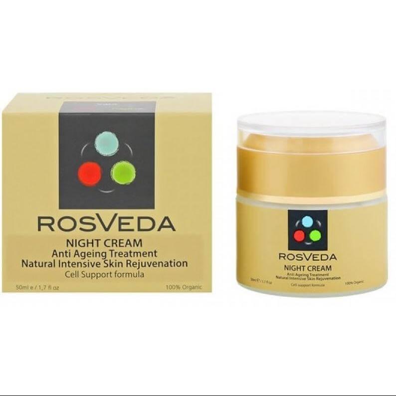 RosVeda Night Cream 100% Φυτική Σύνθεση, Κρέμα Προσώπου Νυκτός Για Αναζωογόνηση Του Δέρματος & Ανάπλαση των Κυττάρων 50ml
