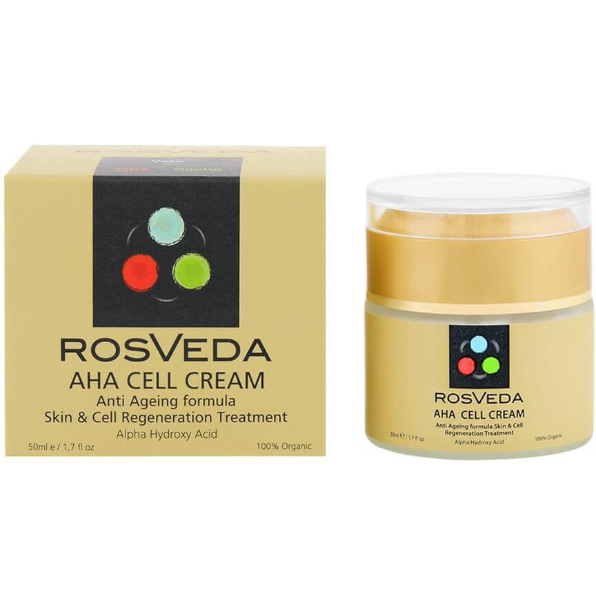 Rosveda AHA Cell Cream 100% Φυτική Σύνθεση Αντιγηραντική Φροντίδα Νύχτας, Θεραπεία Αναδόμησης της Στοιβάδας της Επιδερμίδας 50ml