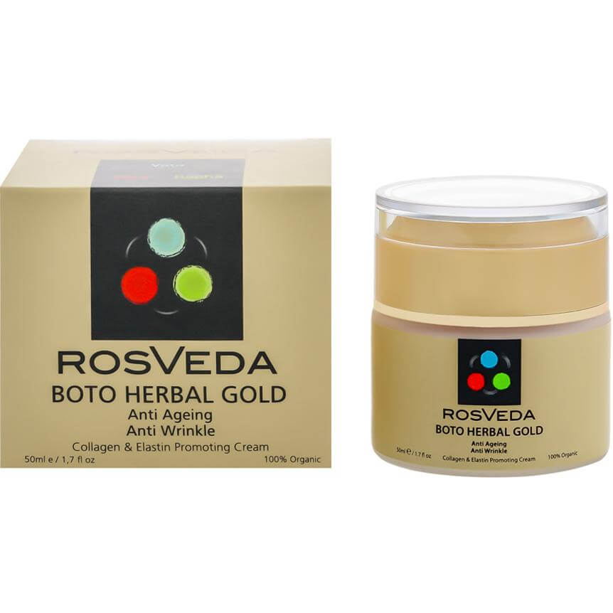 Rosveda Boto Herbal Gold 100% Φυτική Σύνθεση Αντιγηραντική Αντιρυτιδική Κρέμα Παραγωγής Ελαστίνης & Κολλαγόνου 50ml