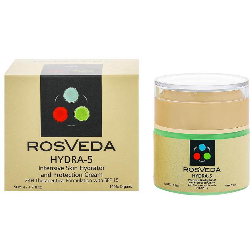 RosVeda Hydra-5 100% Φυτική Σύνθεση, Ενυδατικό, Προστατευτικό Gel 24ης Ενυδάτωσης Προσώπου με Αντηλιακή Προστασία Spf15 50ml