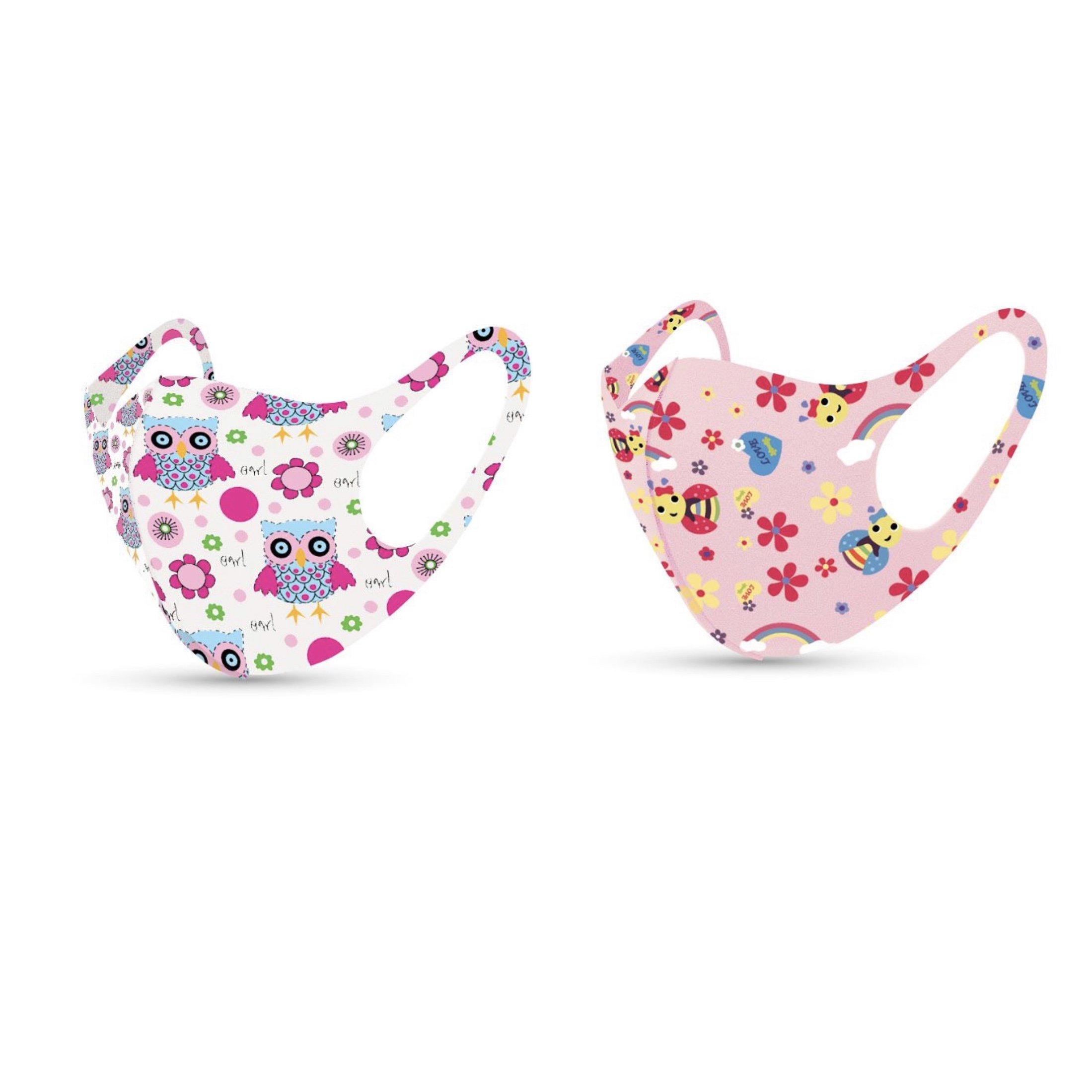 TiLi Fashion Face Mask Παιδικές Μάσκες Προσώπου Πολλαπλών Χρήσεων Με Σχέδια Μέλισσα – Κουκουβάγια Για Κορίτσι 2 Τεμάχια