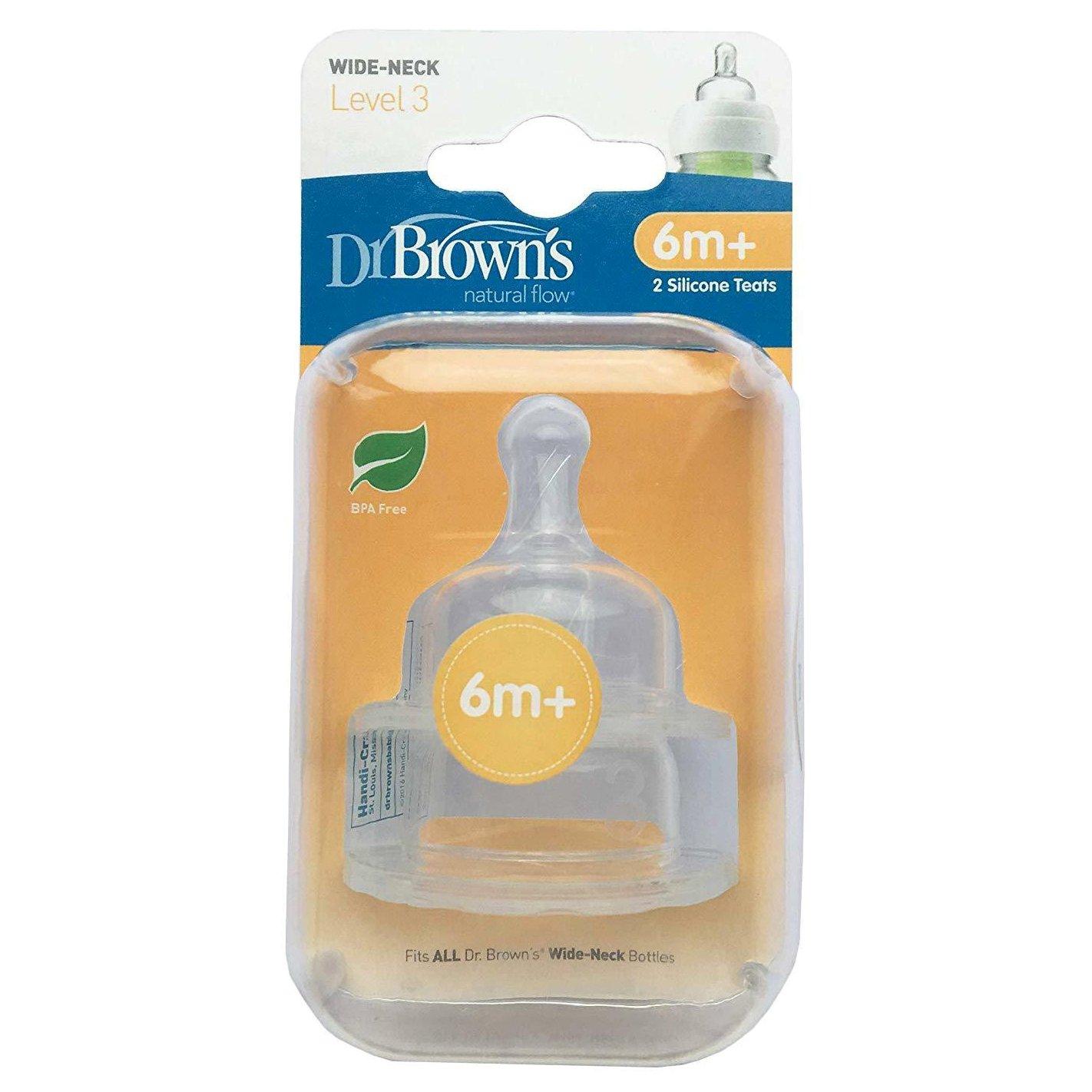 Dr. Browns Options Θηλές Σιλικόνης για Μπιμπερό με Φαρδύ Λαιμό 6m+ 2τμχ