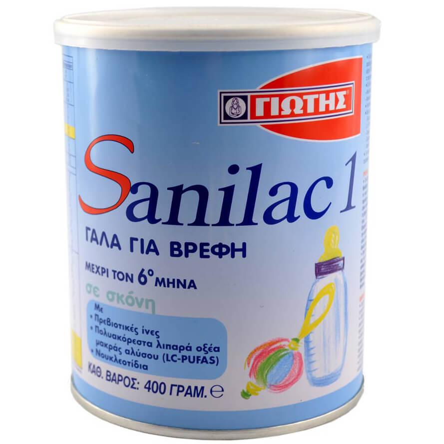 Sanilac 1 Γάλα για Βρέφη από την Γέννηση Μέχρι τον 6ο Μήνα 400gr