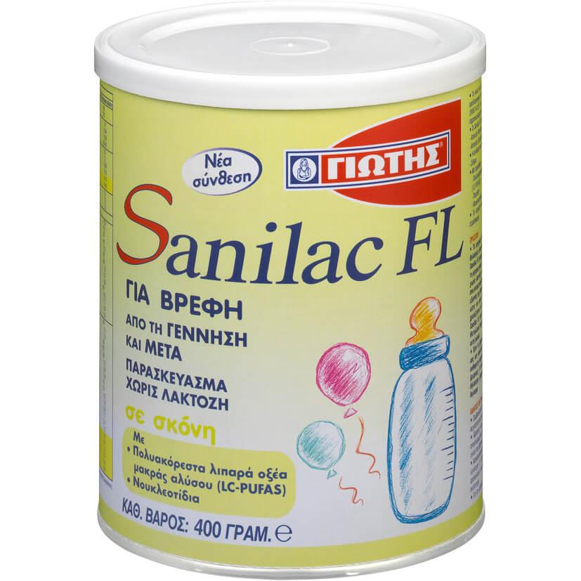 Sanilac FL Γάλα για Βρέφη από την Γέννηση, Χωρίς Προσθήκη Λακτόζης 400gr