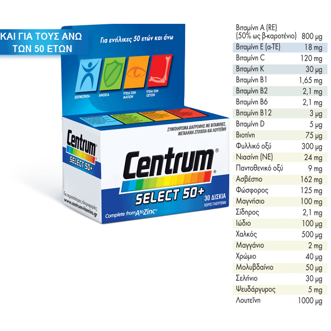 Centrum Select 50+ Complete from A to Zinc, Συμπλήρωμα Διατροφής Με Ειδικά Ισορροπημένη Σύνθεση 60 Δισκία