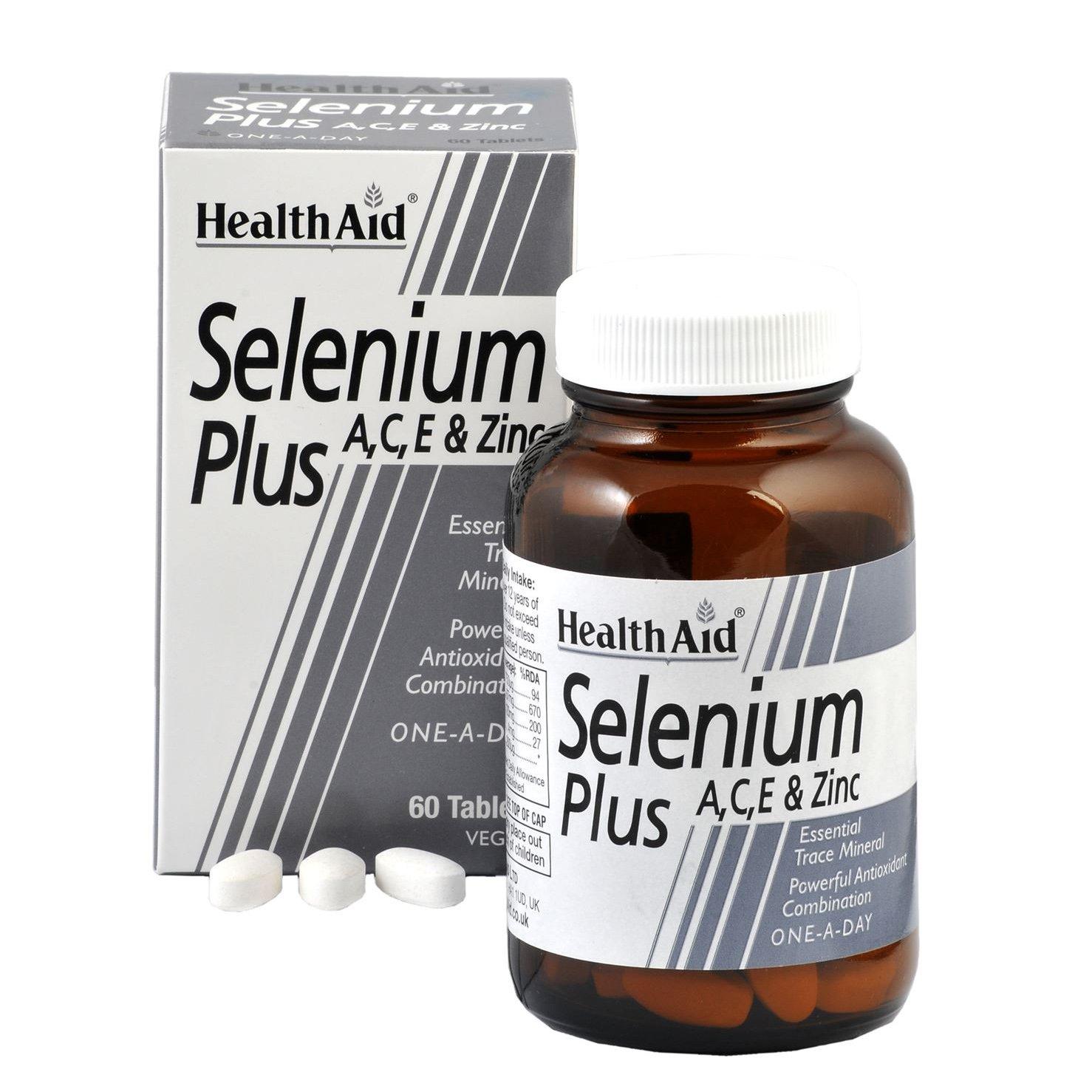 Health Aid Selenium Plus (Vitamins A, C, E & Zinc) Προστασία των Κυτταρικών Ιστών Ενάντια στην Οξείδωση 60tabs