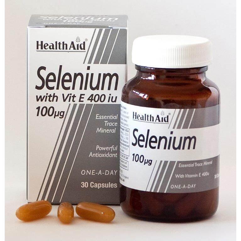 Health Aid Selenium 100μg & Vitamin E 400i.u Ενεργοποίηση Των Αντιοξειδωτικών Ενζύμων Του Οργανισμού 30 Κάψουλες