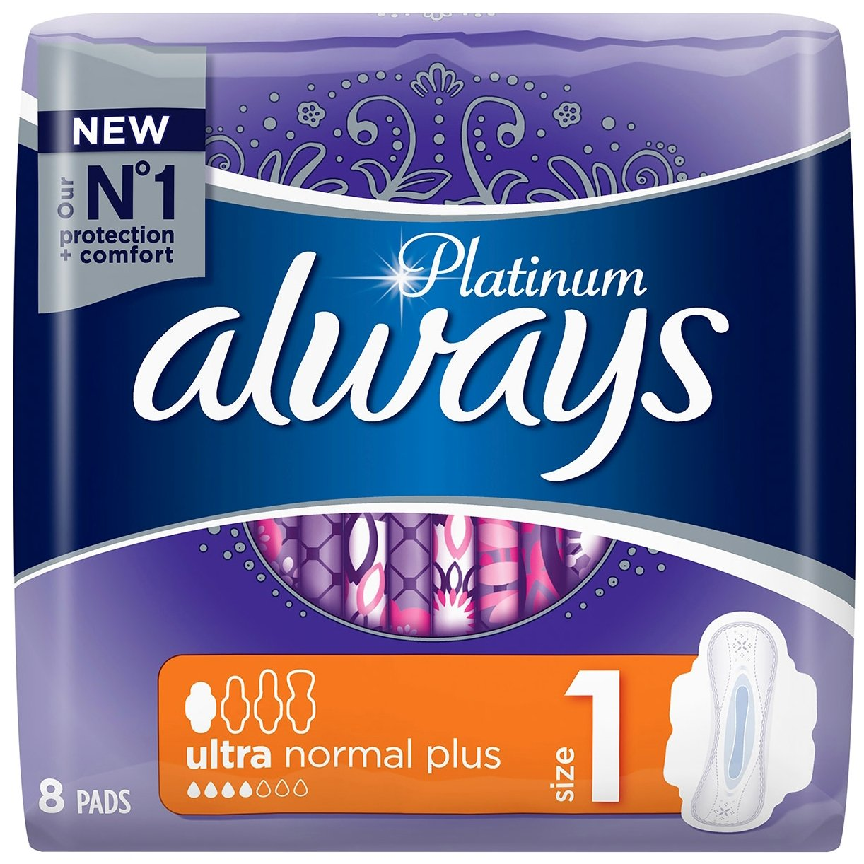 Always Ultra Platinum Normal Size 1 Σερβιετάκια με Φτερά 8pcs