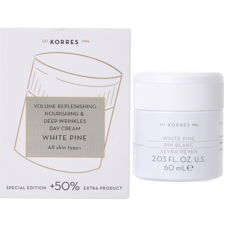 Korres White Pine Day Cream Λευκή Πεύκη Κρέμα Ημέρας για την Αναπλήρωση του Όγκου & Πυκνότητας, Όλοι οι Τύποι Επιδερμίδας 60ml
