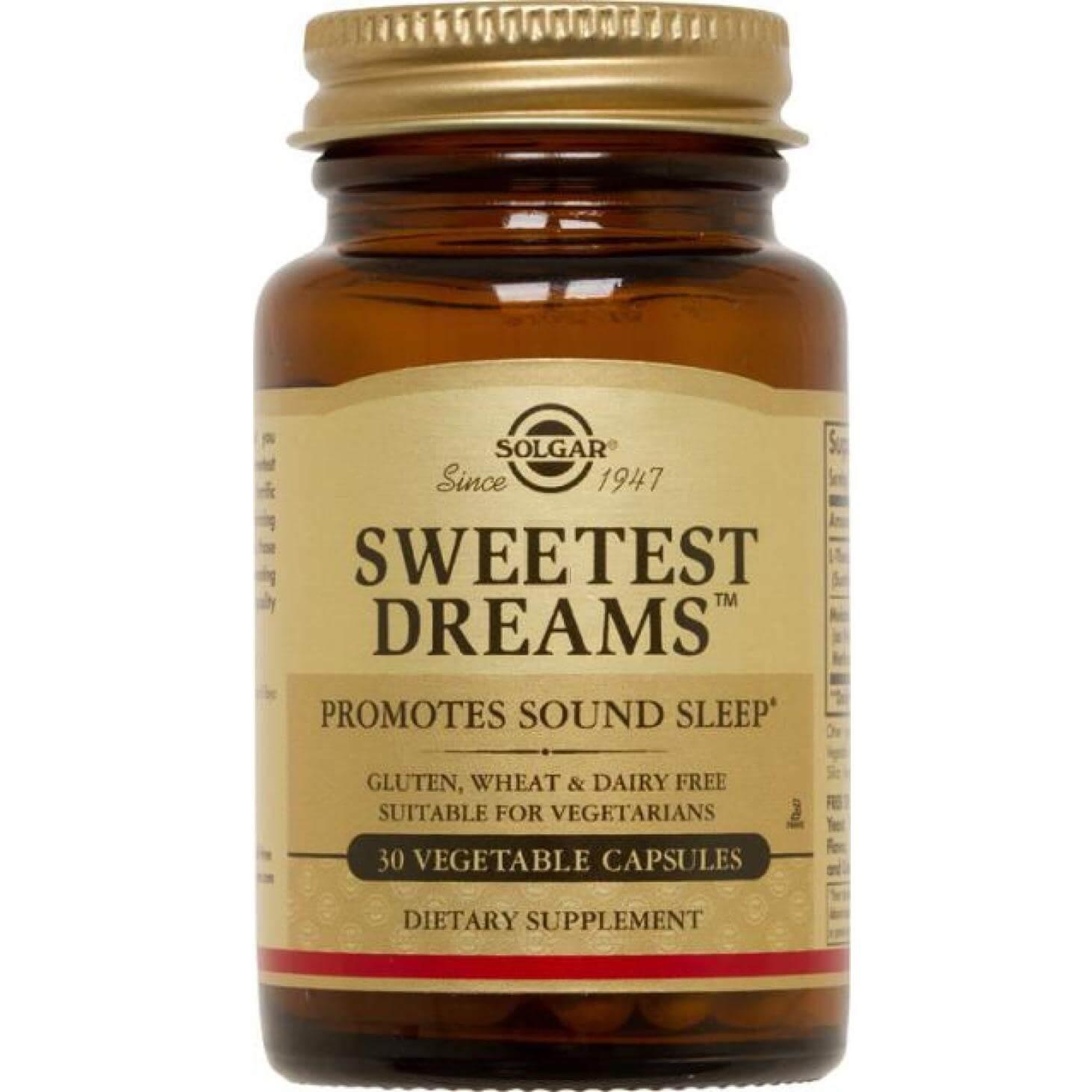 Solgar Sweetest Dreams Συμπλήρωμα Διατροφής που Βοηθά σε Περιπτώσεις Αϋπνίας, Ανησυχίας & Jet Lag30veg.cap