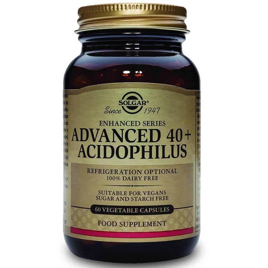 Solgar Advanced 40+ Acidophilus Συμπλήρωμα Διατροφής για Ηλικίες 40+ Διατήρηση της Καλής Λειτουργίας του Εντέρου 60veg.caps