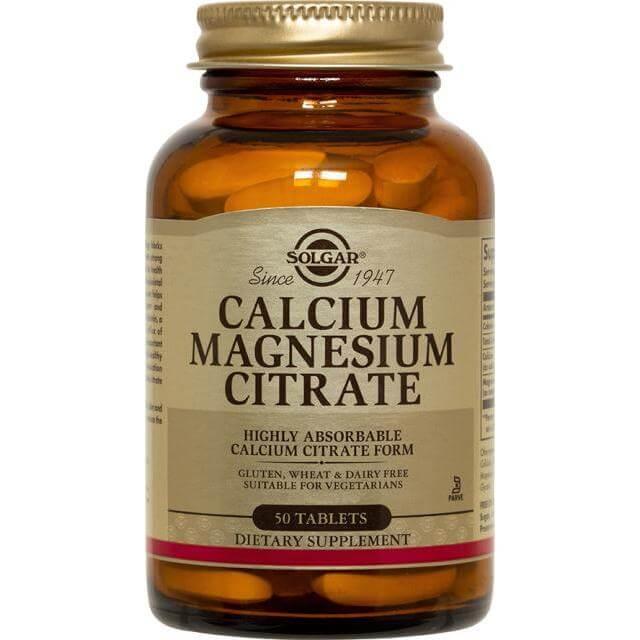 Solgar Calcium Magnesium Citrate Συμπλήρωμα Διατροφής για την Ενίσχυση του Νευρικού/Μυικού Συστήματος 50tablets