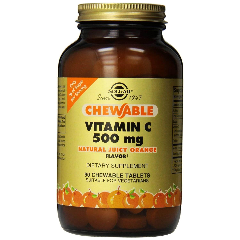 Solgar Chewable Vitamin C 500mg Συμλήρωμα Διατροφής με Ασβέστιο για τη Δόμηση, τη Διατήρηση των Οστών & των Δοντιών 90chew.tabs – ORANGE