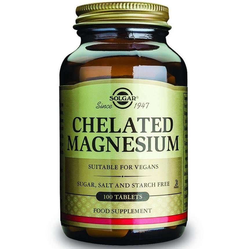 Solgar Chelated Magnesium 100mg Συμπλήρωμα Διατροφής Κατάλληλο για τις Μυικές Συσπάσεις & για τον Ομαλό Καρδιακό Παλμό 100 tabs