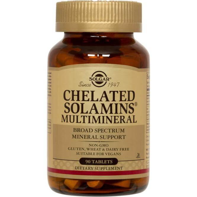 Solgar Chelated Solamins Multimineral Συμπλήρωμα Διατροφής με Συνδυασμό Όλων των Απαραίτητων Μετάλλων & Ιχνοστοιχείων 90 tabs