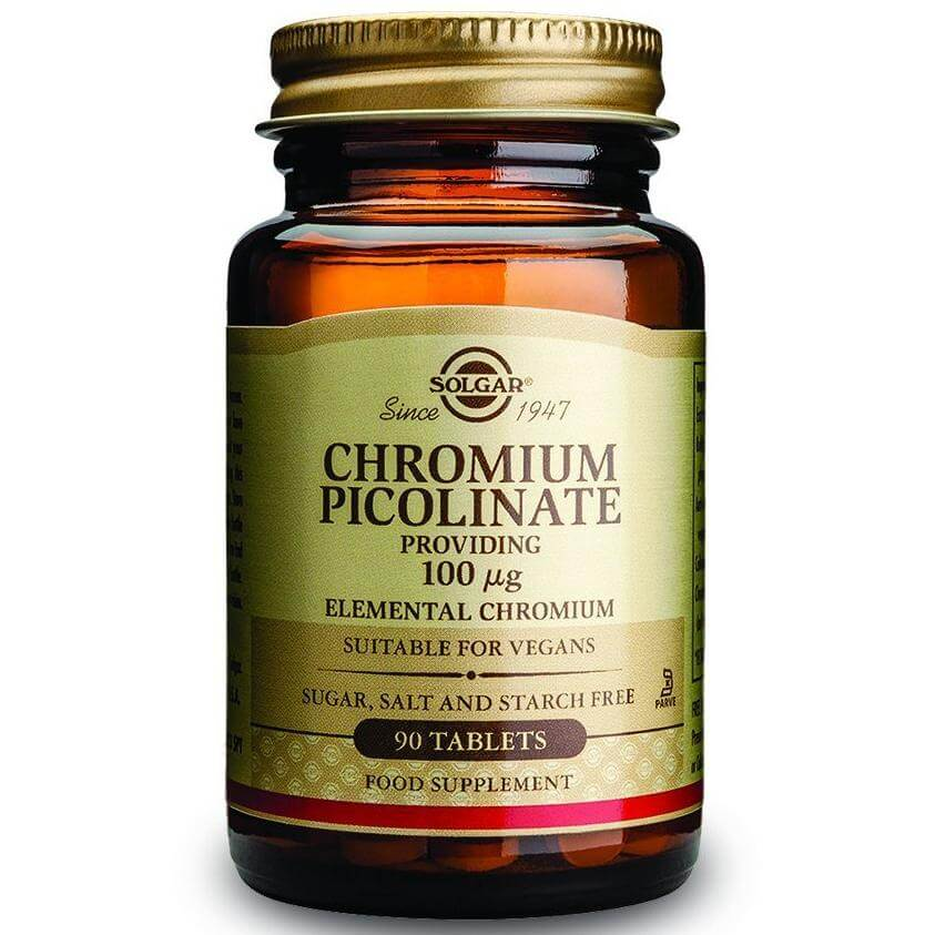 Solgar Chromium Picolinate Συμπλήρωμα Διατροφής Χρήσιμο για τον Έλεγχο του Σακχάρου στο Αίμα – 100μg 90tabs