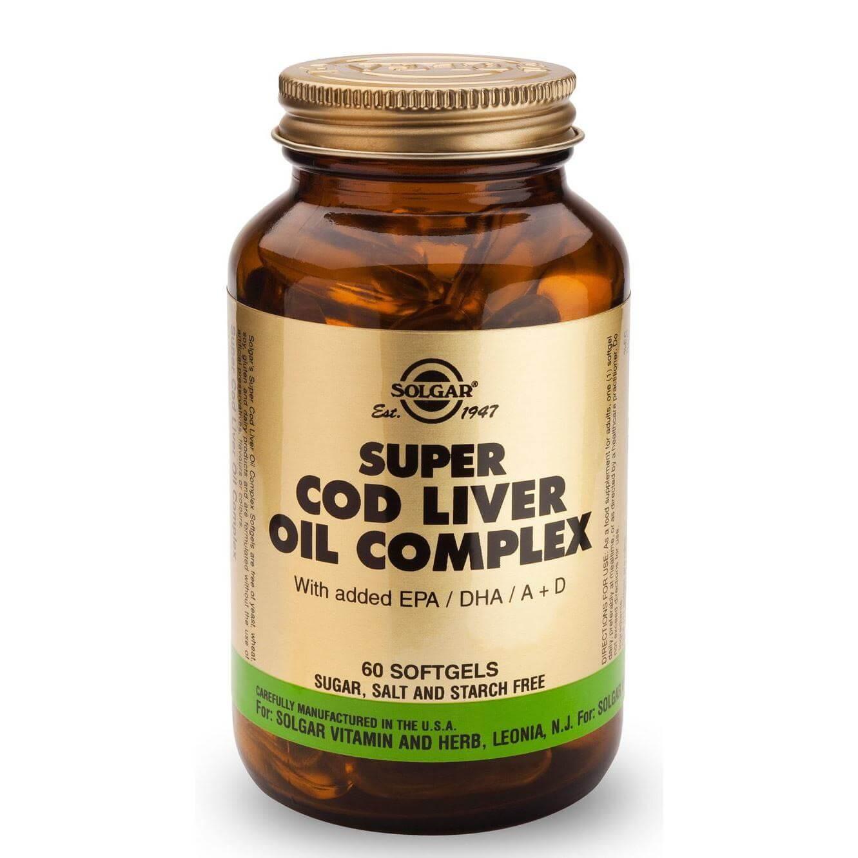 Solgar Super Cod Liver Oil Complex Συμπλήρωμα Διατροφής Υψηλής Συγκέντρωσης σε Ω3 Λιπαρά Οξέα & Βιταμινών A, D 60softgels