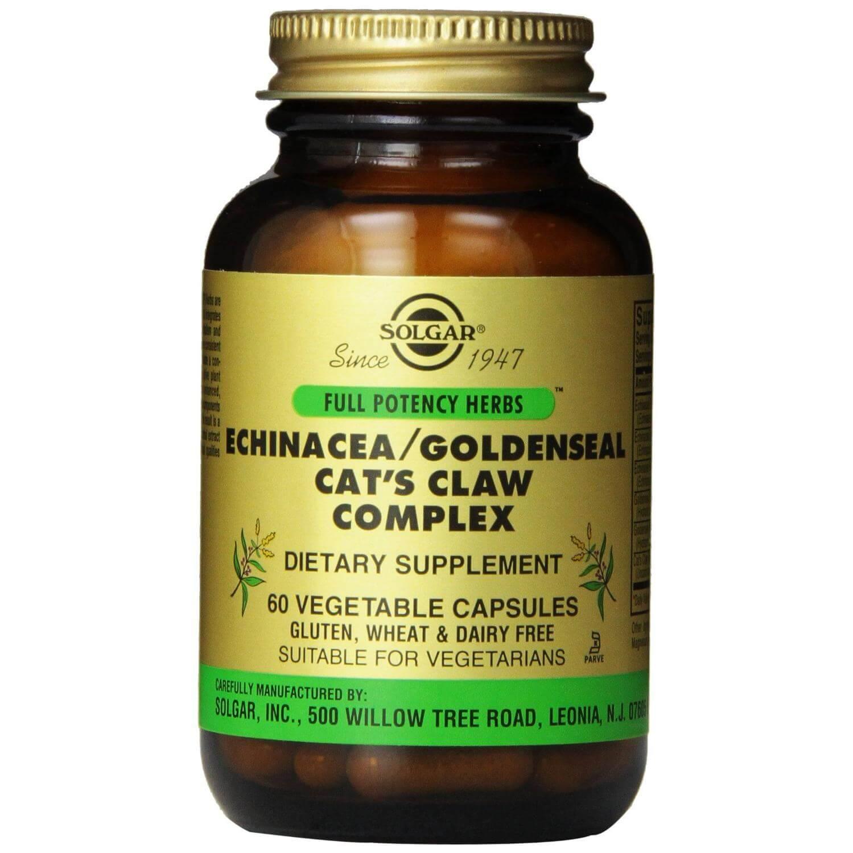 Solgar Echinacea/ Goldenseal/ Cat's Claw Complex Συμπλήρωμα Διατροφής Χρήσιμο σε Περιπτώσεις Κρυολογημάτων & Ιώσεων veg.caps – 60 veg.caps