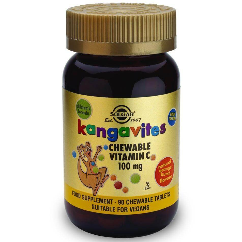 Solgar Kangavites Chewable Vitamin C 100mg 90tablets – Orange