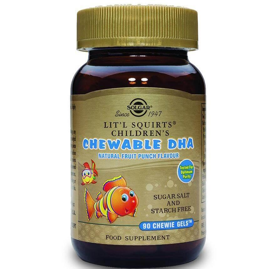 Solgar Childrens Chewable Dha Συμπλήρωμα Διατροφής για Παιδιά, Συμβάλει στην Σωστή Ανάπτυξη του Εγκεφάλου 90Chewie-Gels