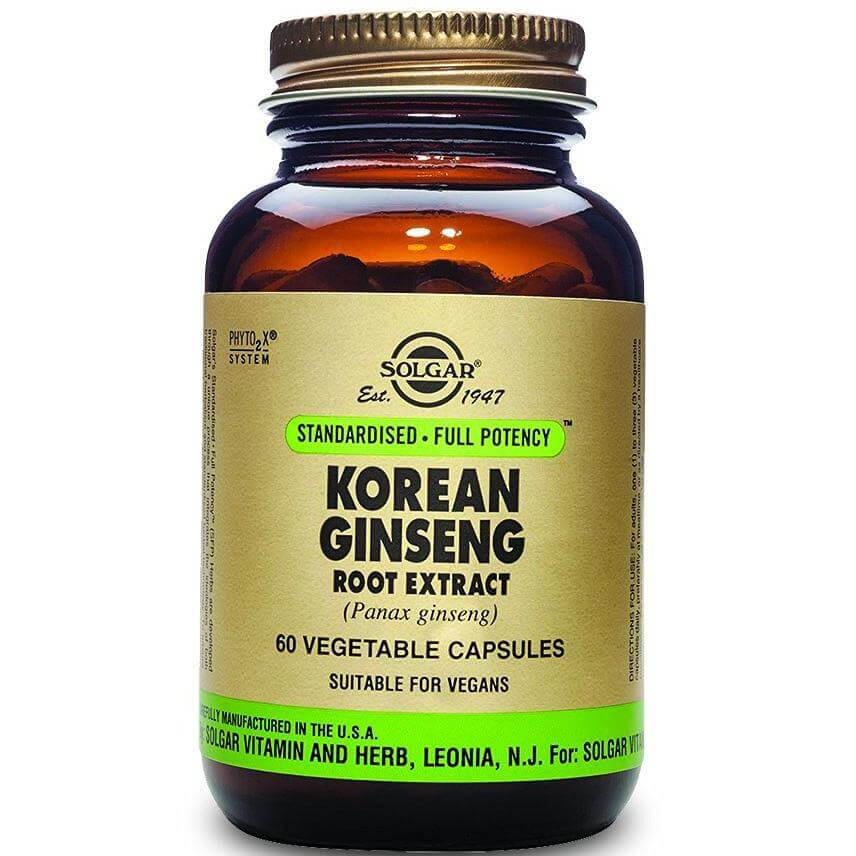 Solgar Sfp Korean Ginseng Root Extract Συμπλήρωμα Διατροφής Βοηθάει στην Ενδυνάμωση του Κεντρικού Νευρικού Συστήματος 60veg.caps