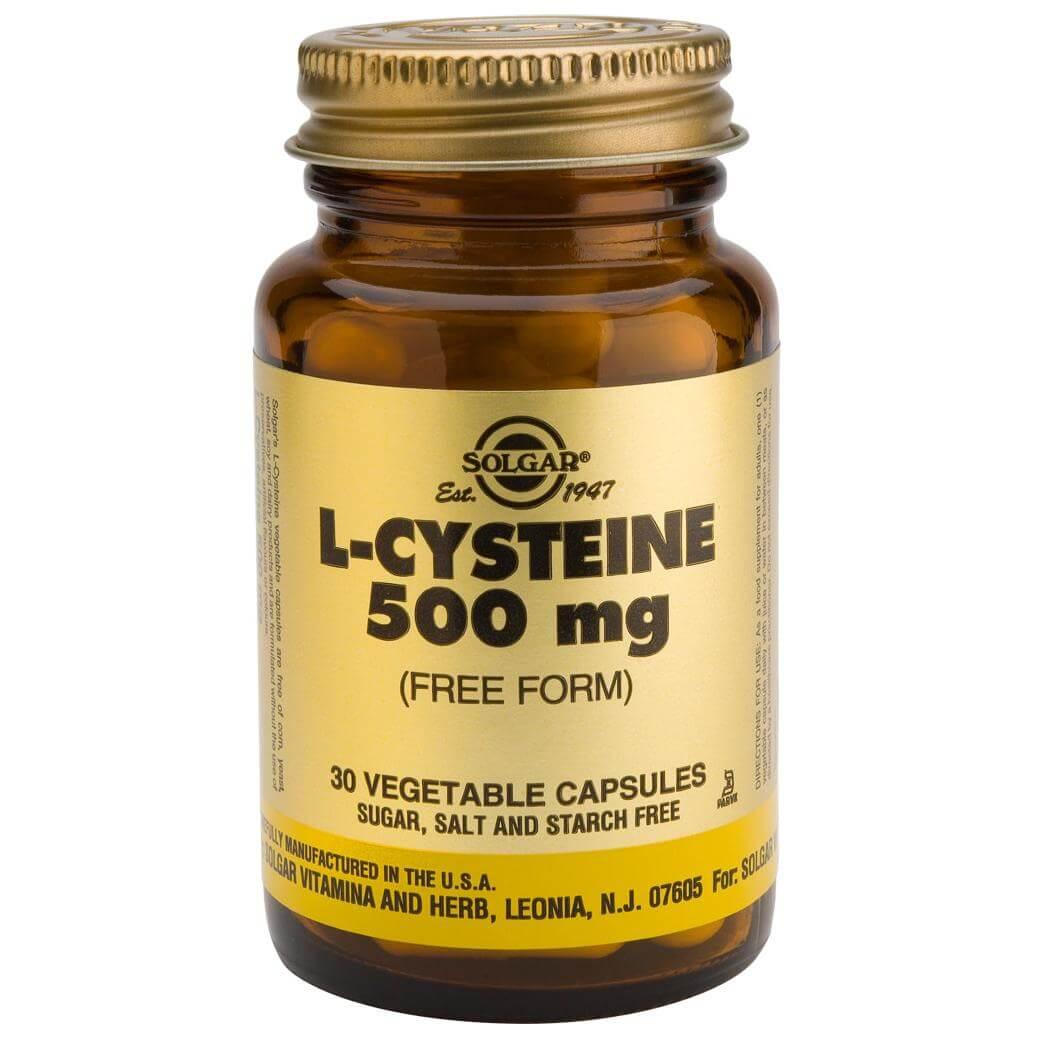 Solgar L-Cysteine 500mg Συμπλήρωμα Διατροφής που Συμβάλλει στην Παραγωγή Κερατίνης απο τον Οργανισμό 30veg.caps