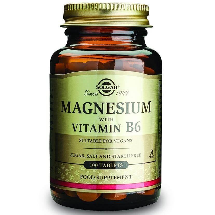 Solgar Magnesium + Β6 Συμπλήρωμα Διατροφής που Καταπολεμά τις Ημικρανίες & Μειώνει τις Περιπτώσεις Κράμπας 100 tablets