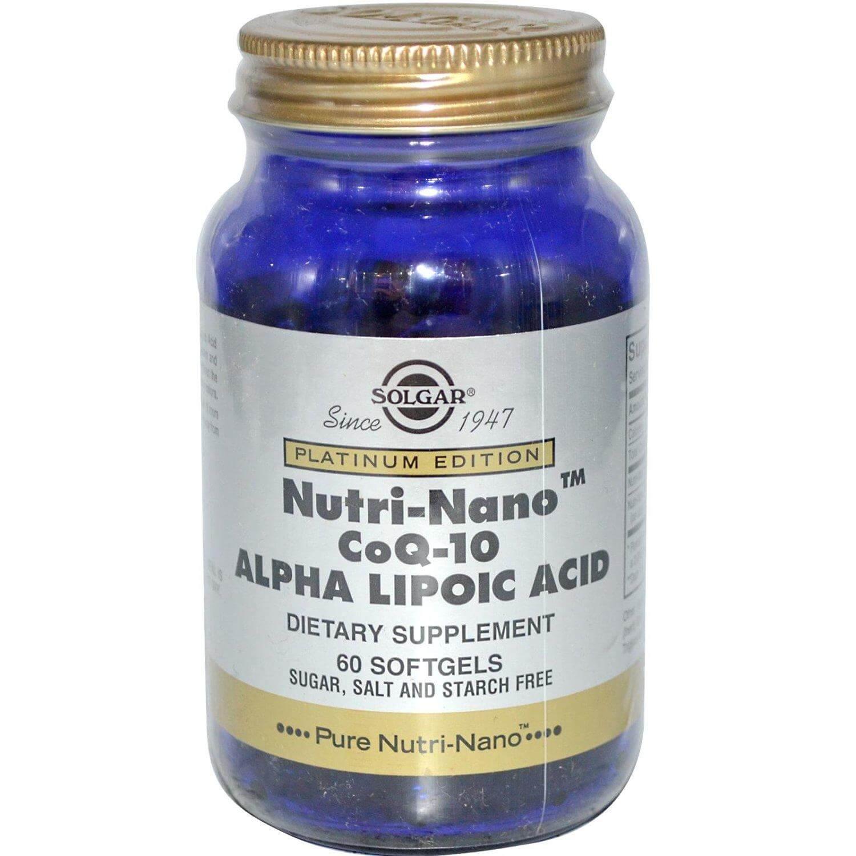 Solgar Nutri-Nano CoQ-10 Alpha Lipoic Acid Συμπλήρωμα Διατροφής, Αντιοξειδωτικά Στοιχεία Υψηλής Βιοθιαθεσιμότητας 60softgels