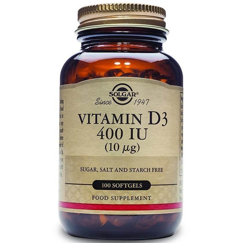 Solgar Vitamin D3 400iu Συμπλήρωμα Διατροφής Βιταμίνης D3 Ιδανική σε Περιπτώσεις Οστεοπόρωσης 100softgels