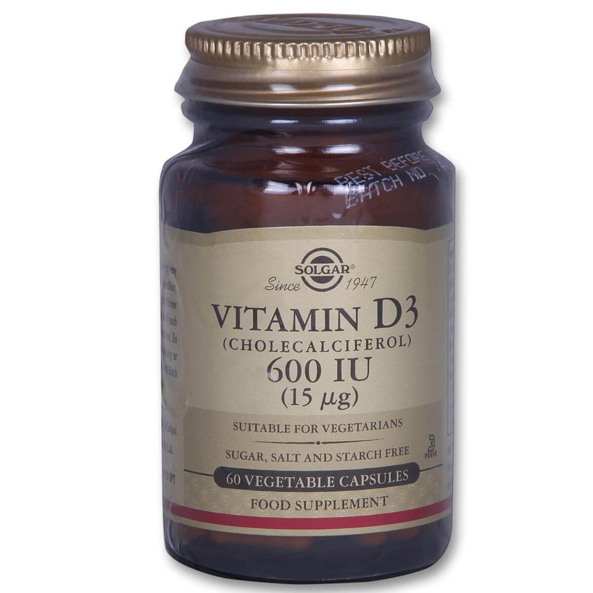Solgar Vitamin D3 600iu Συμπλήρωμα Διατροφής Βιταμίνης D3 Ιδανική σε Περιπτώσεις Οστεοπόρωσης 60veg.caps