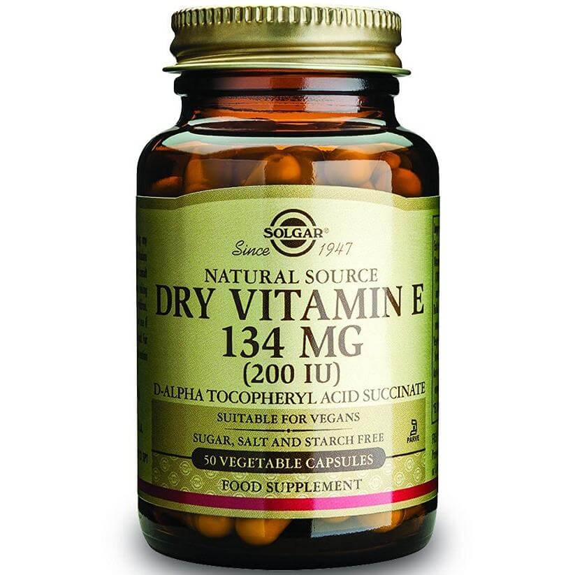 Solgar Vitamin E Dry Συμπλήρωμα Διατροφής, Παρέχει Φυσικής Πηγής Βιταμίνη Ε σε Ξηρή Μορφή με Μεγαλύτερη Βιοδιαθεσιμότητα vegcaps – 400 iu 50veg.caps