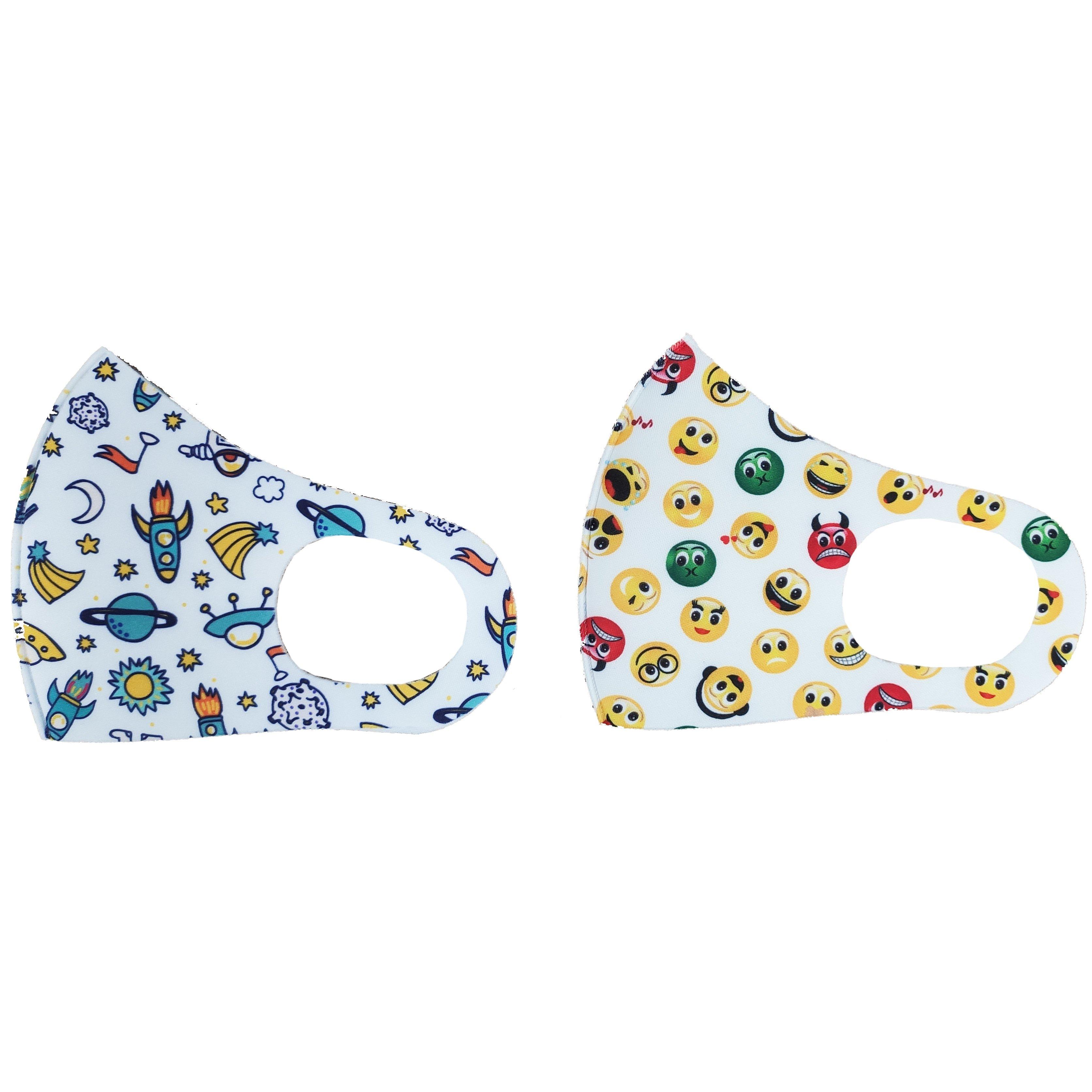 Tili Fashion Face Mask Παιδικές Μάσκες Προσώπου Πολλαπλών Χρήσεων με Σχέδια Διάστημα – Emoji για Αγόρι 2 Τεμάχια