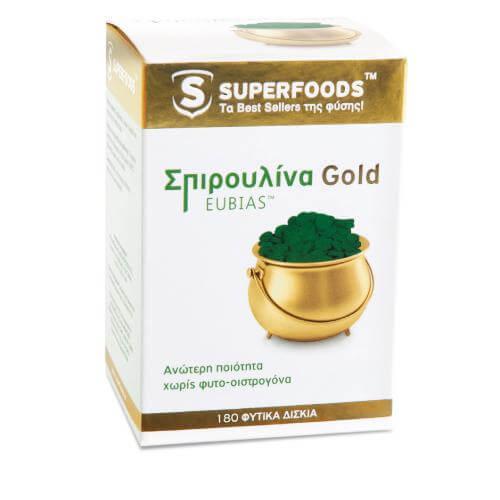 Superfoods Σπιρουλίνα Gold EUBIAS Για Μέγιστη Αντοχή Πλούσια Σε Πρωτεΐνες 180 δισκία