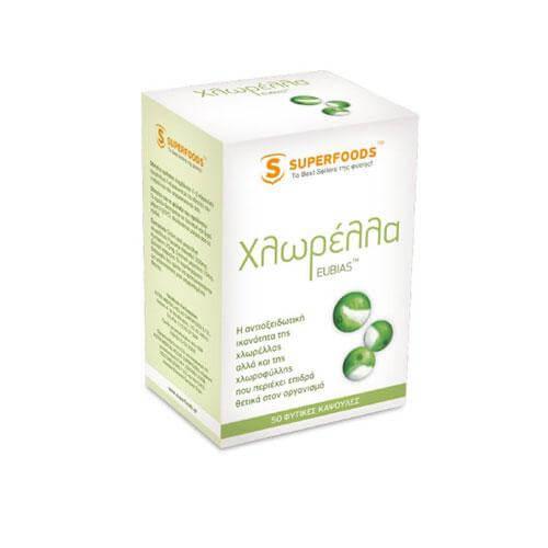 Superfoods Χλωρέλλα EUBIAS™ Super-Φυτική Τροφή Με Χλωροφύλλη Για Ισχυρή Αντιοξείδωση 50caps