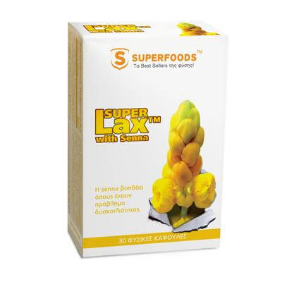Superfoods Super Lax™ with Senna Βοηθάει Όσους Έχουν Πρόβλημα Δυσκοιλιότητας 30caps